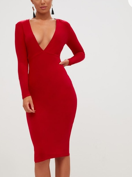 6beceee51f74 Pretty Little Thing Dresses | Red Long Sleeve Plunge Slinky Midi ...